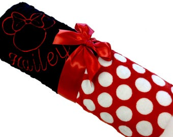 Minnie Mouse Inspired Personalized Baby Blanket Red and White Polkadot Minky With Black dot Minky Standard Size