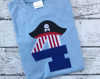 Pirate birthday number applique shirt for boys and girls customized and personalized