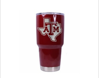 Laser Engraved with MAROON TEXAS A&M Anodized -  30 oz cup any logo you want