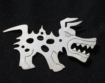 HUGE Mexican Silver Angry Dog Brooch Pin