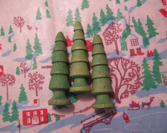 vintage green wooden trees