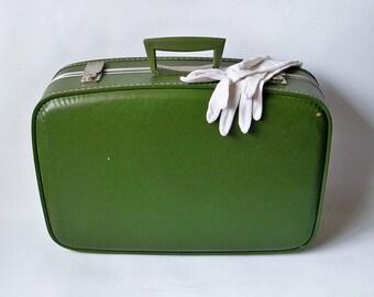 "Small Mid Century Avocado Green Suitcase - 21"" Suitcase"