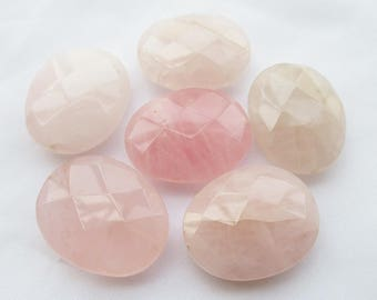 Oval Faceted Rose Quartz Pendant 23x29mm Natural Stone Beads g042