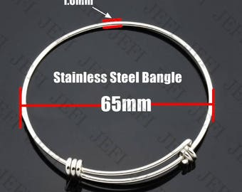 10 Bangle Base 304 Stainless Steel 65mm Adjustable Bracelet Blanks