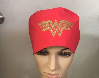 Wonder Woman scrub hat - tie back - surgical hat - surgical cap - welding cap- motor cycle cap - medical scrub hat - OR surgery hat.