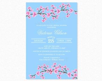 Cherry Blossom Bridal Shower Invitation, Floral Bridal Shower Invitations, Blue, Printable or Printed