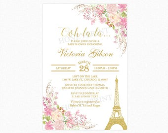 Paris Baby Shower Invitation, French Baby Shower Invitation, Flowers, Pink, Gold Glitter, Personalized, Printable and Printed