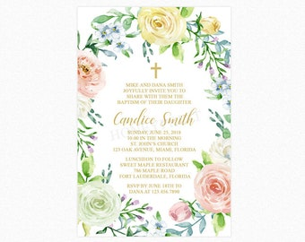 Spring Blooms Baptism Invitation, Christening Invitation, Floral, Personalized, Printable or Printed
