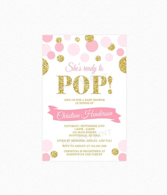 Shes ready to pop baby shower invitation pink gold glitter polka il570xn filmwisefo