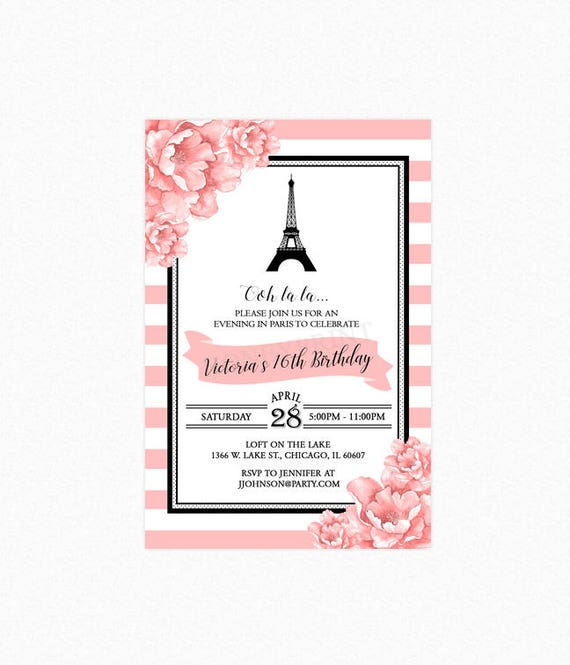 Paris birthday party invitation sweet sixteen invitation eiffel il570xn filmwisefo