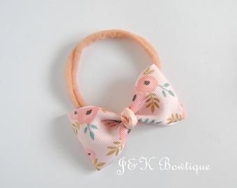 pink flower bow on nylon headband, Small Bows, Baby Bows, Newborn headbands, Nylon baby Headband, Baby hair bows, Flower Headband