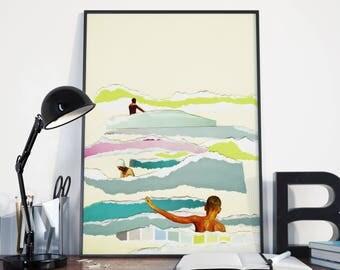 Ocean Art, Surf Print, Swimming Print, Colourful Wall Decor, Collage Print - Sun and Surf