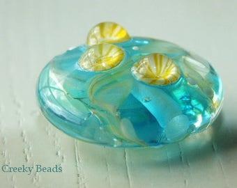 "Handmade Lampwork beads ""turquoise & lemon "" - Creeky Beads SRA"