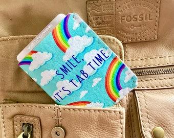 Birth Control Pill Case, Pill Case Birth Control, Discreet Case for Birth Control Pills, Pill Cozy - Rainbows