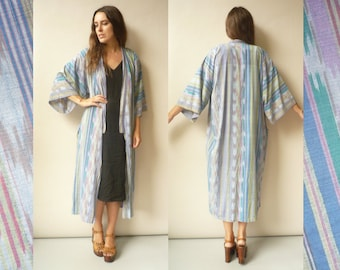 1990's Woven Ikat Pattern Vintage Cotton Kimono Style Duster Jacket Robe