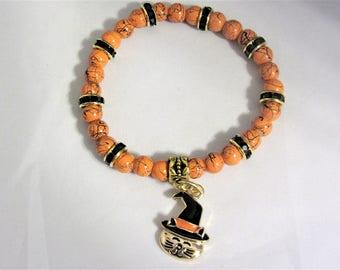 Orange with Black Glass Beads Stretchy Halloween Cat Bracelet