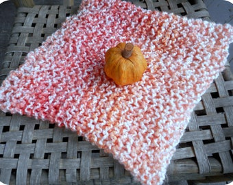 Indian Summer. Hand Knit Infinity Scarf. Ombre Orange & Cream Neck Cowl. Boho Neck Wrap .