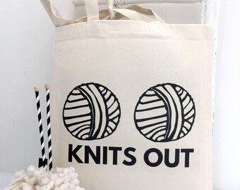 Knits Out | Knitting Bag | Knitting | Cheeky Knitting Bag | Funny Knitting Gift | Knitting Pun
