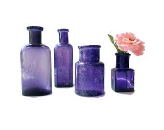 4 Old Purple Bottle Collection Antique Purple Apothecary Bottles Rustic Wedding Decor Decorative  Bottle Vases Violet