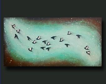 Flock of Birds, Birds Flying, Abstract Birds, Rust Art, Splatter, Whimsy - Taking Flight Series 18x36 by Britt Hallowell