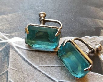 Vintage aquamarine color screw back earrings