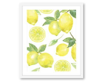 Lemon Art Print -  Lemon Wall Art - Fruit Art - Kitchen Decor - 8x10 on 8.5x11 - Aldari Art