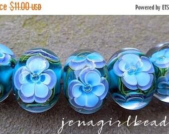SALE Ocean Blossoms Encased Floral Lampwork Beads