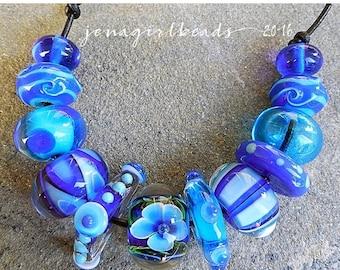 SALE Atlantis, Set 2 Lampwork Beads