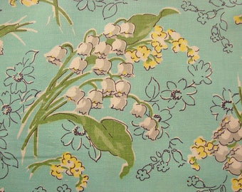 Feedsack Fabric 1940s Old Feedsack Fabric Turquoise Lily of the Valley Floral Print Flowers Cotton Feed Sack