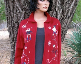 Ugly Christmas Sweater  Charter Club Wool Skating Party Sweater Size Large Zipper Front