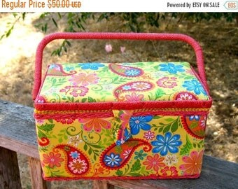 1990s Woven Rattan & Fabric  Never Used MOD Paisley Pop Art Sewing Basket MINT CONDITION