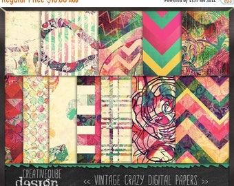 80% Off SALE Digital paper, Digital Scrapbook paper pack - Instant download - 12 Digital Papers - Crazy vintage