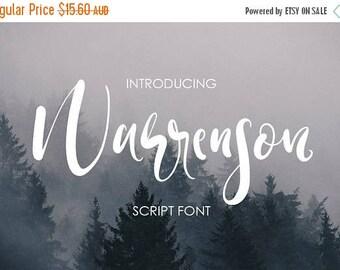 80% OFF Warrenson Script Font, Hand drawn Wedding Font, Calligraphy, Signature Typeface, Hand Written font, brush font, marker