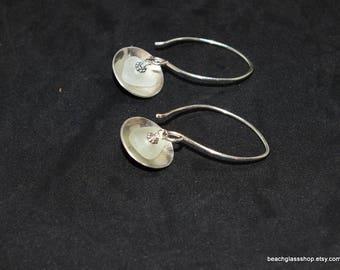 SS Seaglass Earrings - Sea Glass Jewelry - Lake Erie Beach Glass - Domed Earrings - Pierced Earrings - FREE Shipping inside the US