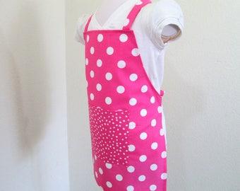 Childrens Apron - Pink Powerful Polka Dot Retro Kids Apron! A vibrant color, cooking apron, painting apron, baking apron, chefs apron