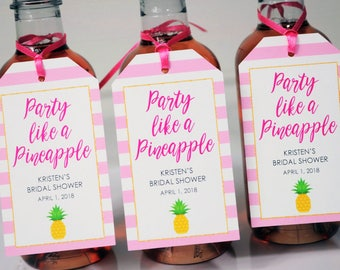 Bridal Shower Favor Tags, Party Like A Pineapple, Mini Wine Bottle Tags, Mini Champagne Tags, Wedding Favors, Bachelorette Party - Set of 12