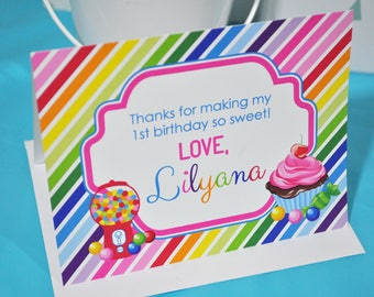 Birthday Thank You Cards, Candy Sweet Shoppe Thank You Notes, Rainbow Party, Candy Land Birthday, Sweet Shop Birthday Party - Set of 10