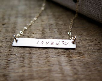 Loved Necklace - 14k Gold Fill Bar Necklace - Hand Stamped Jewelry - by Betsy Farmer Designs