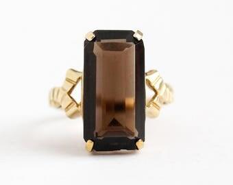 Vintage Quartz Ring - 10k Rosy Yellow Gold Smoky Quartz Statement - Retro 1970s Estate Size 5 Dark Brown Emerald Cut Gemstone Fine Jewelry