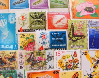 Whimsical Wings 50 Premium Vintage Insects Postage Stamps Bugs Entomology Fly Moth Bee Butterfly Dragonfly Beetle Invertebrate Philately