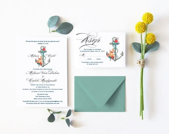 Anchor Wedding Invitation, Nautical Wedding Invitations, Yatch Invite, Floral wedding invitation, Garden Wedding Invitation