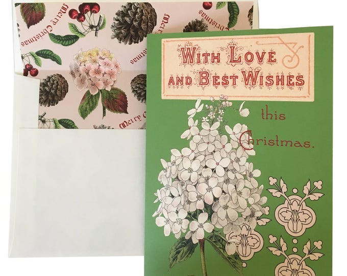 Christmas no longer available! Don't miss the Spring Collection coming soon! Christmas card- green-card-vintage illustration-hydrangea