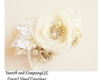 Ivory Hair Flower Lace detail with Velvet Leaves,Chiffon and Organza Ivory Bridal Hair flower clip,Ivory bridal hairpiece,Heirloom Hair clip