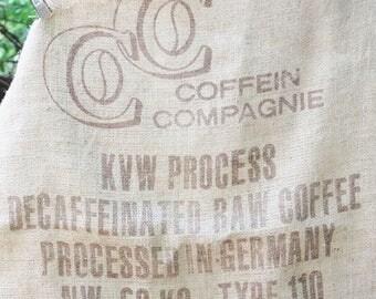 Vintage Burlap Coffee Bag, Coffein Compagnie from Germany, German Coffee Bean bag, Heavy Weight Jute Woven Coffee bag,