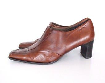 Women's Vintage TAMARIS Mid Heel Court  Brown 100% Real Leather Shoes Size UK7 EU41