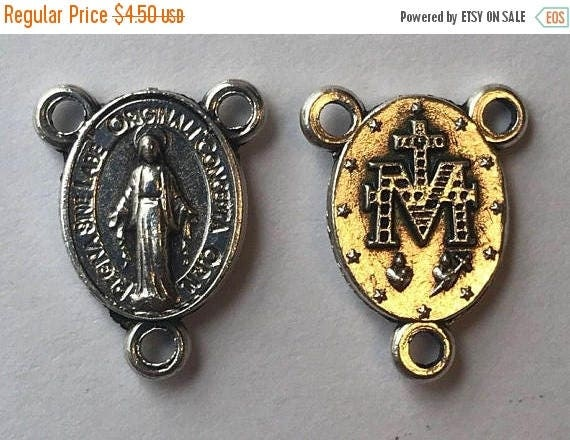CLOSING SALE 5 Rosary Center Findings, Mary Immaculate, Tiny, Die Cast Silverplate, Silver Color, Oxidized Metal, Made in Italy, Charm, Reli