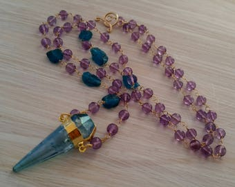 Long beaded amethyst & blue aura quartz necklace