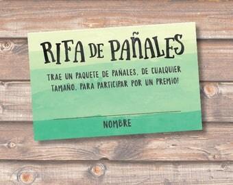 Diaper Raffle Spanish Verde Rifa de Pañales Tarjetas Baby Shower Niño Green Ombre Sorteo Boletas Rifa Pañales - INSTANT DOWNLOAD