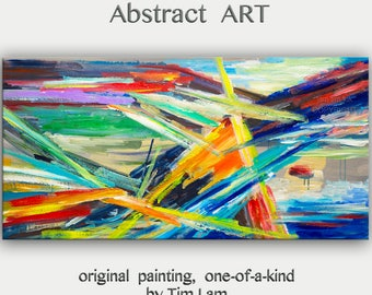 """sale Original large Surreal Abstract Painting  wall art Oil painting Modern design wall decor  on gallery wrap canvas by Tim Lam 48"""" x 24"""""""