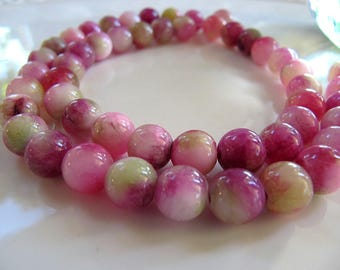 8mm Mountain JADE Beads in Violet Pink, Green and Cream, Dyed, Round, 1 Strand 16 Inches, Approx 50 Beads Gemstone Beads